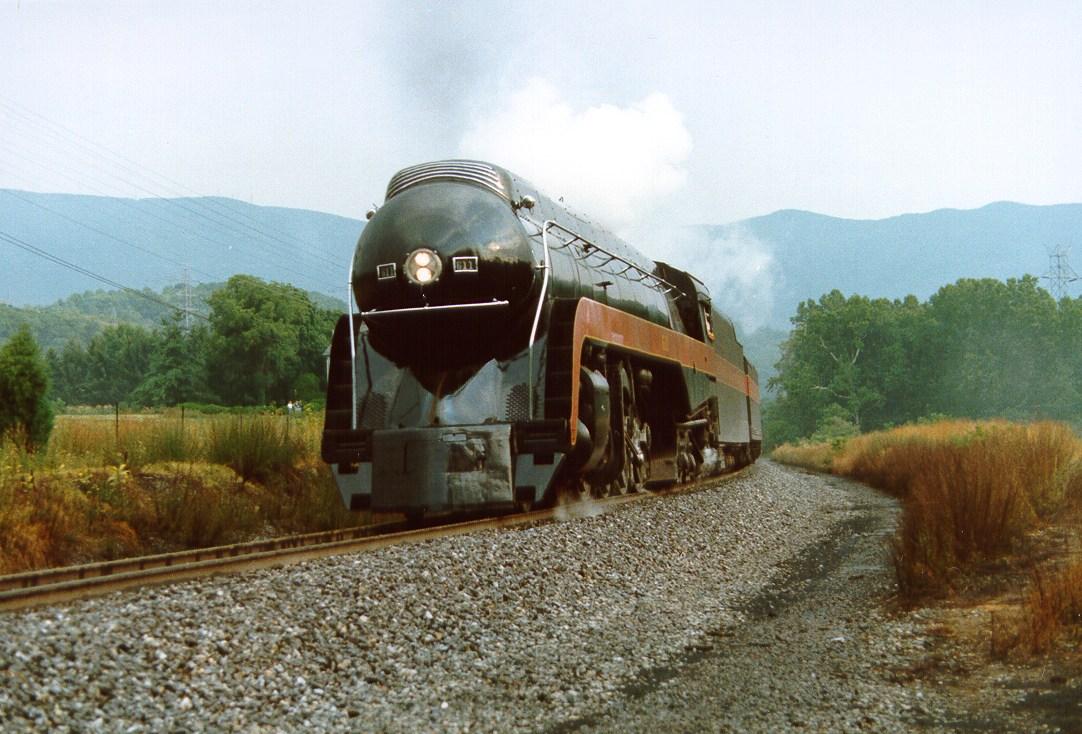N&W Class J #611 steams eastward near Salem, Virginia on July 30, 1987